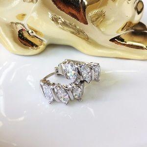 Sterling silver 3 marquises cut cz hoop earrings